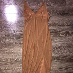 Midi silky dress with slit
